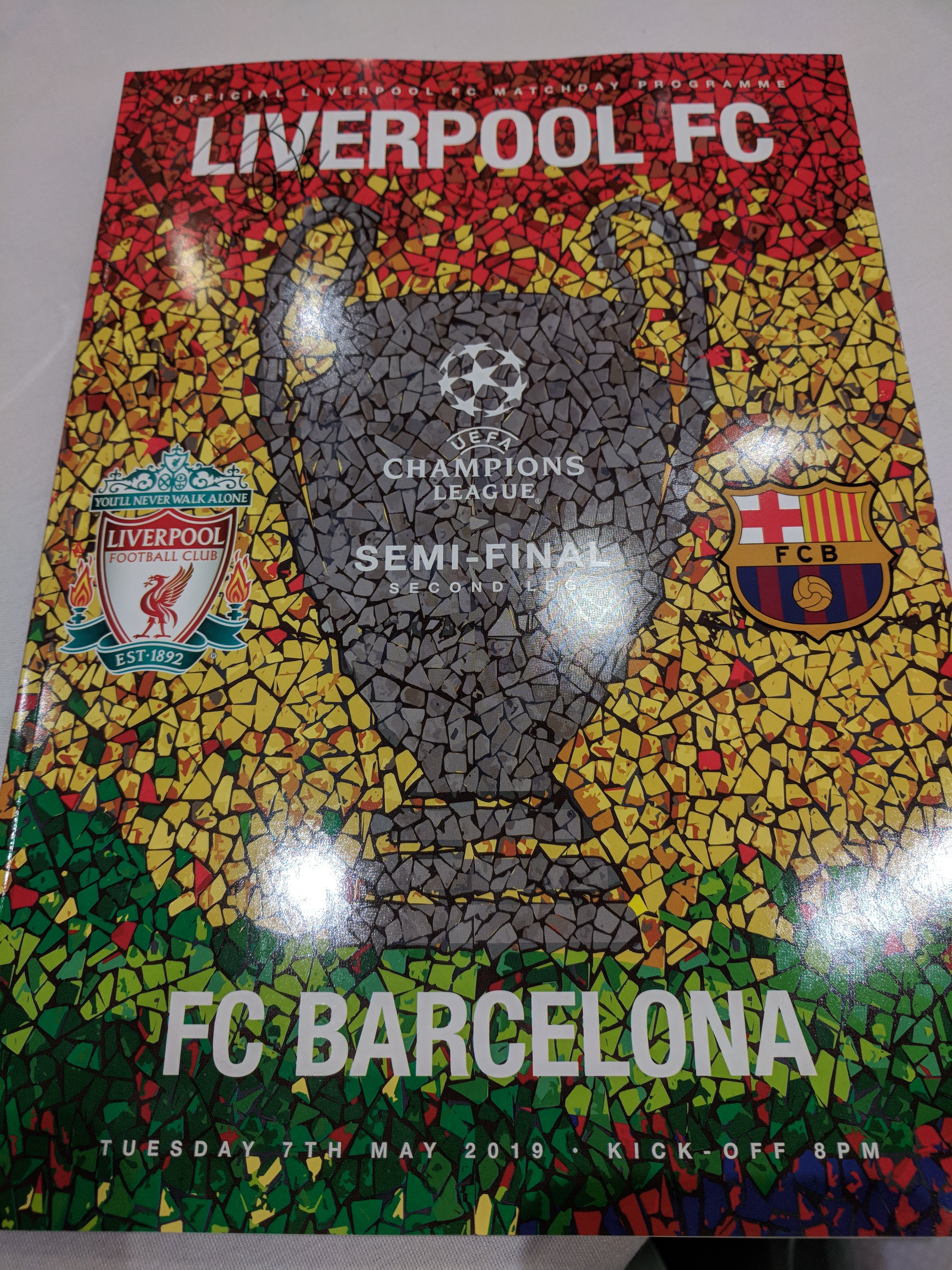 A picture of the actual program from the game Liverpool beat Barcelona.